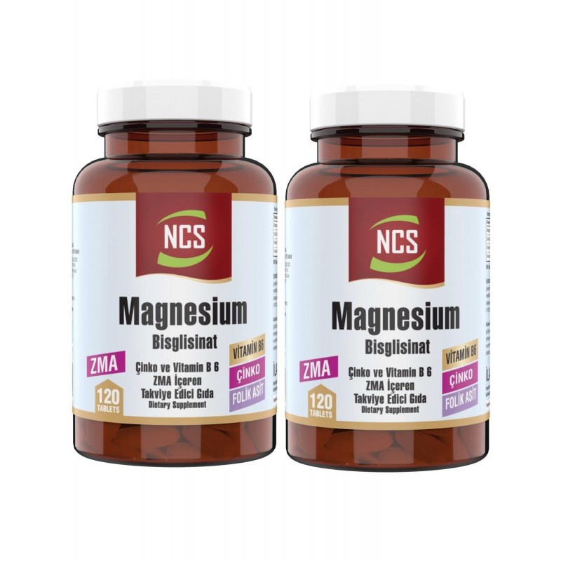 Ncs Zma 120 Tablet Çinko Folic Acid Vitamin B 6 Magnezyum Bisglisinat 2 Adet