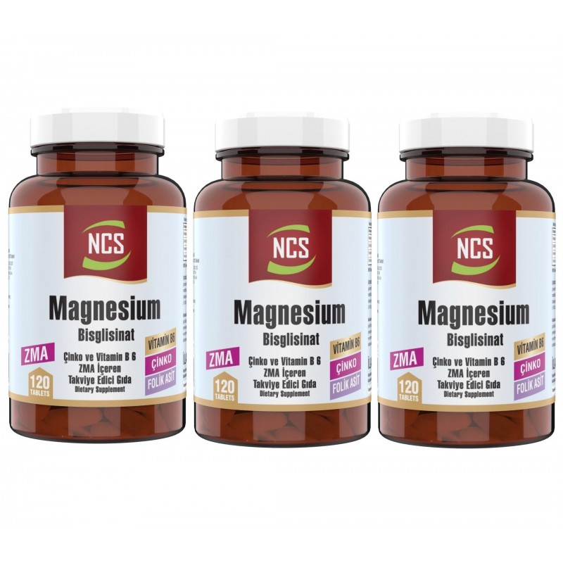 Ncs Zma 120 Tablet Çinko Folic Acid Vitamin B 6 Magnezyum Bisglisinat 3 Adet
