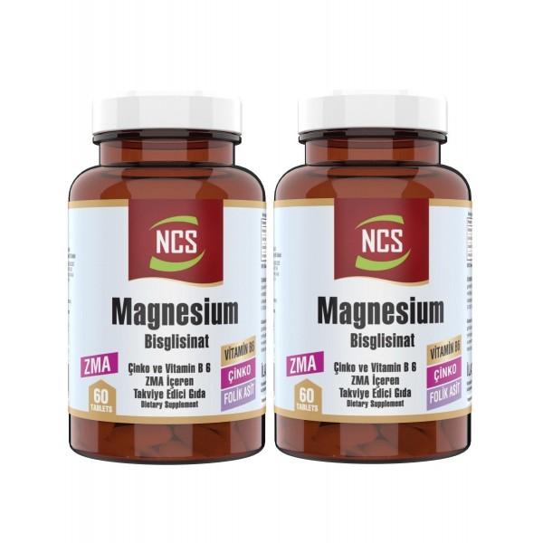 Ncs Zma 60 Tablet Çinko Folic Acid Vitamin B 6 Magnezyum Bisglisinat 2 Adet
