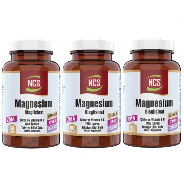 Ncs Zma 60 Tablet Çinko Folic Acid Vitamin B 6 Magnezyum Bisglisinat 3 Adet