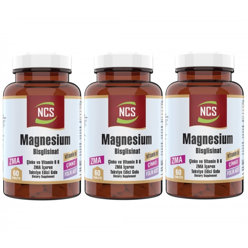 Ncs Zma 60 Tablet Çinko Folic Acid Vitamin B 6 Magnezyum Bisglisinat