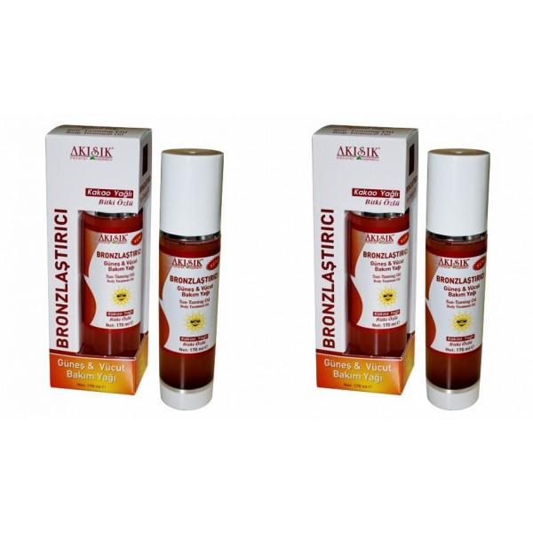 Akışık Bronzlaştırıcı Güneş ve Vücut Yağı 170 ml-2 kutu