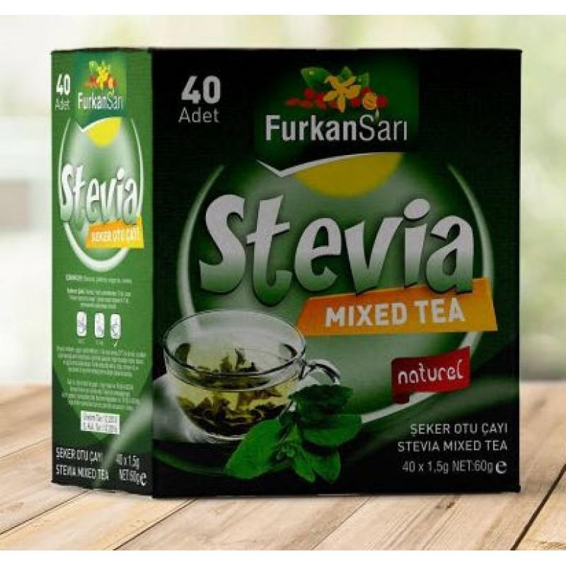 Furkan Sarı Stevia Şeker Otu Süzen Poşet Çay 40 x 1.5 G