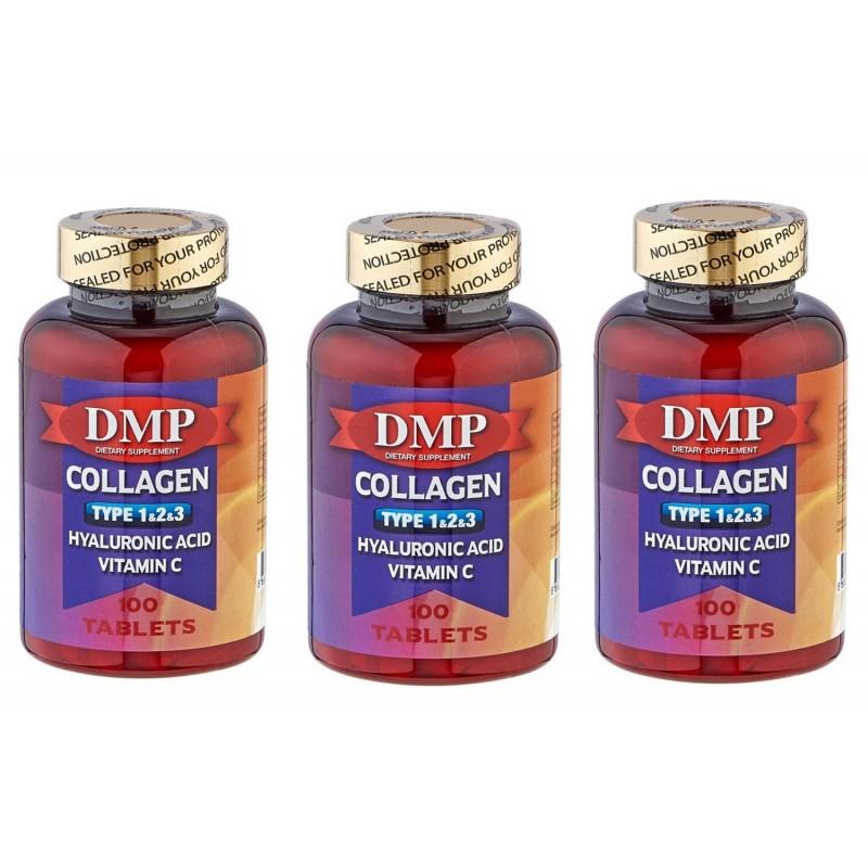 DMP Collagen Tip 1-2-3 Hyaluronic Acid Vitamin C 100 Tablets 3 Ku