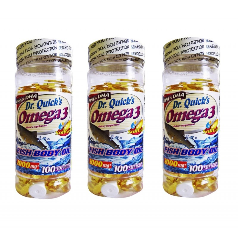 Dr Quicks Omega 3 Fish Oil 2000 mg 100 Softgels