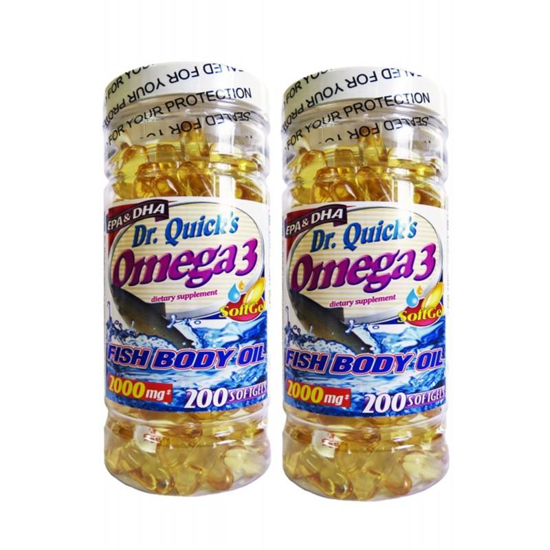 Dr Quicks Omega 3 Fish Oil 2000 mg 200 Softgels Sumak Çay Hediyel
