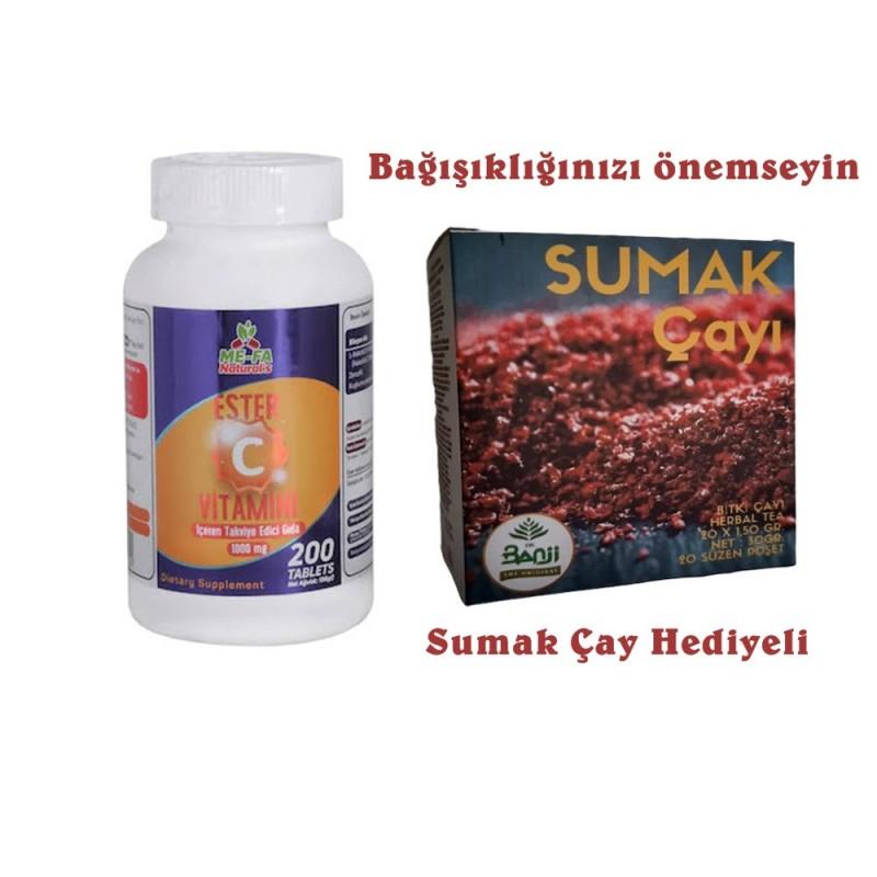 Mefa Naturals Ester C Vitamini Kuşburnu Zencefil 1000 Mg 200 Tab.