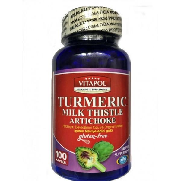 Vitapol Turmeric Milk Thistle Artichoke Gluten Free 100 Kapsül
