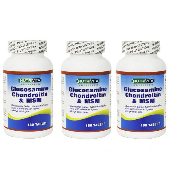 Nutrivita Nutrition Glucosamine Chondroitin Msm 180 Tablet 3 Adet