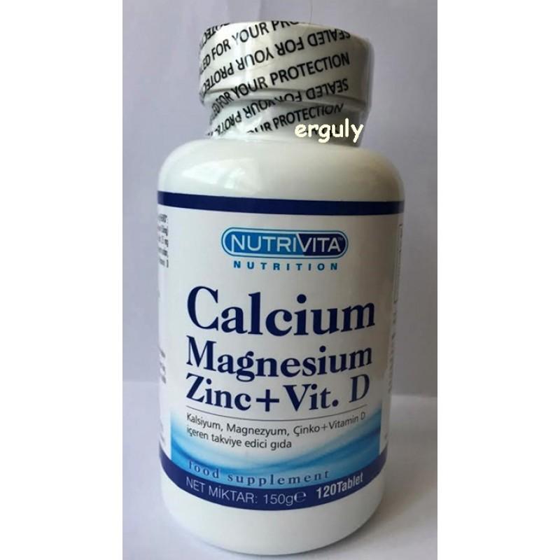 Kalsiyum Magnesyum Çinko Vitamin D 120 Tablet